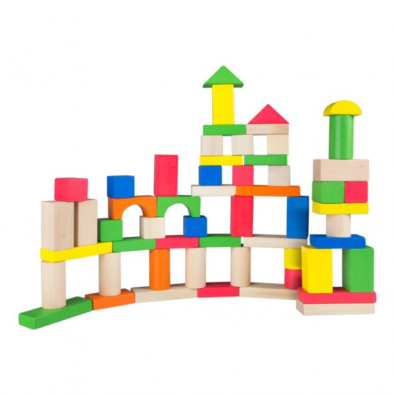 Cubo 100 bloques de madera Play & Learn