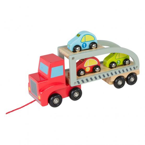 Camión remolque de madera con 3 coches Play & Learn