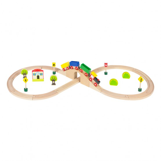 Tren mercancías de madera con circuito 30 piezas  Play & Learn